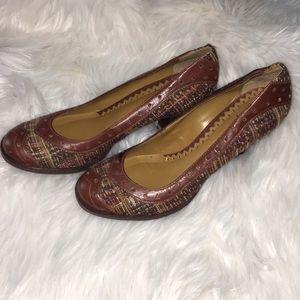 Vince Camuto Sz 8 1/2 Leather & Tweed Heels